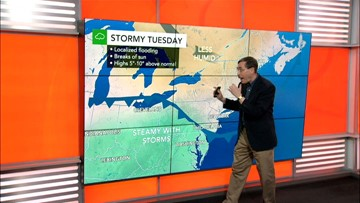 Heat holds in East before storms strike midweek