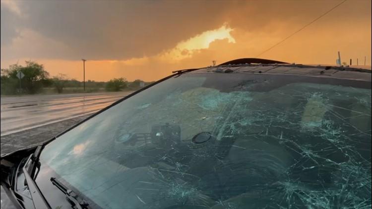 'Gorilla' hail smashes windshield