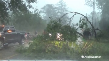 Flash flooding and trees down in Mississippi