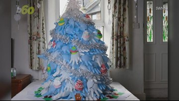 Mom Strapped for Cash Makes a Christmas Tree Out of Rubber Gloves