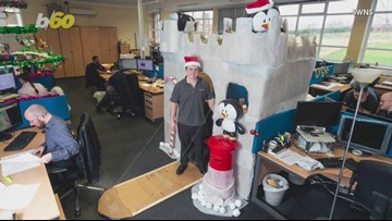 A Man Turns His Work Desk Into A Winter Wonderland