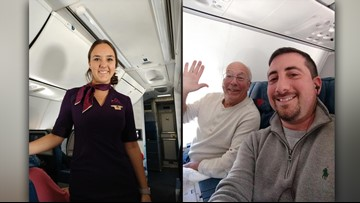 His daughter worked as a flight attendant on Christmas, so he joined her on every flight