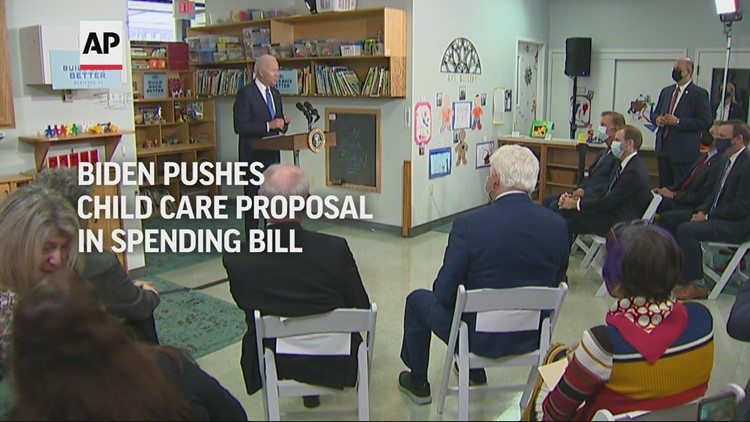 Biden pushes child care proposal in spending bill