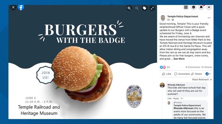 Burgers with the Badge moves to Temple Railroad and Heritage Museum