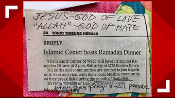 Islamic Center of Waco receives hate mail