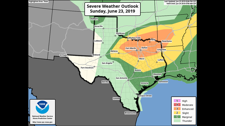 Severe thunderstorms possible this evening for Central Texas