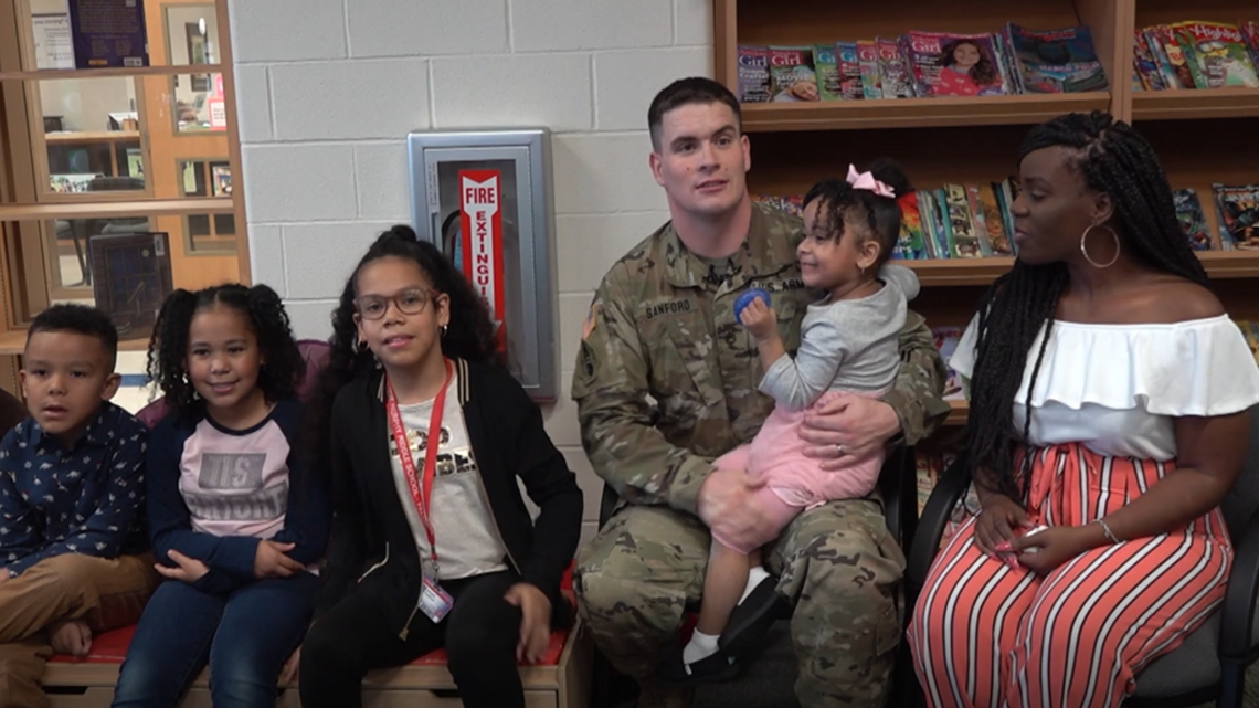 Fort Hood soldier comes home to surprise his four kids at school