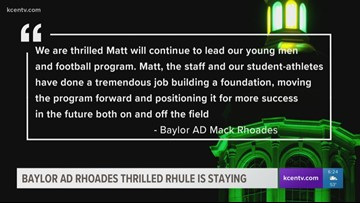 Baylor AD Rhoades thrilled Rhule is staying