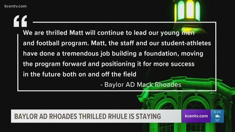 Baylor AD Rhoades thrilled Rhule is staying