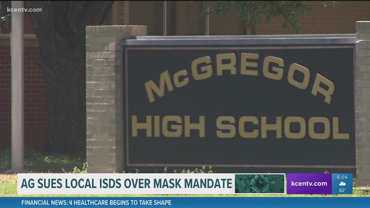 Texas AG sues Waco ISD, Midway ISD, McGregor ISD and La Vega ISD for imposing mask mandates