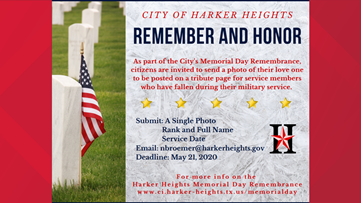 Harker Heights to host virtual Memorial Day Remembrance