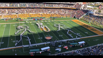 OK, now let's get in formation! Baylor band wows fans during awesome Lady Bears half-time tribute