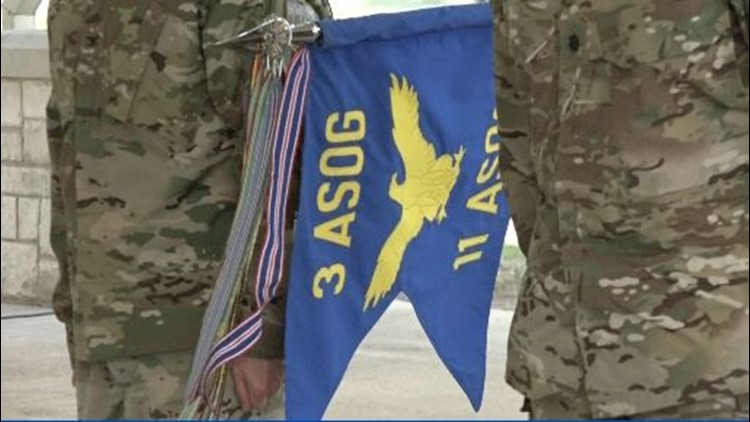 """""""The 11th, in terms of its flag, has flown from the beaches of Normandy through Patton's 3rd Army,""""  Lieutenant Colonel Frank Biancardi II said, incoming commander of the 9th Air Support Operations Squadron."""
