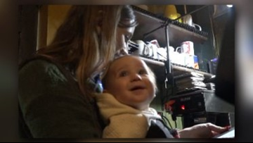 Mom straps on baby to wait tables at North Carolina restaurant during snow storm