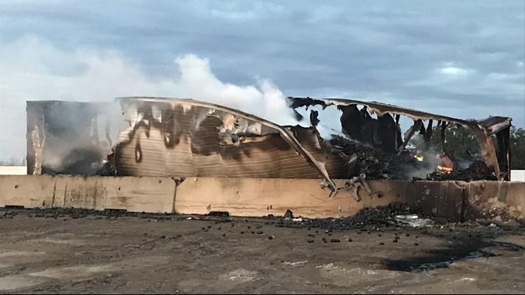Woman dies, driver severely burned in I-35 semi-trailer crash