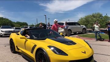 Allen Samuels dealership presents Corvette to Kim Mulkey