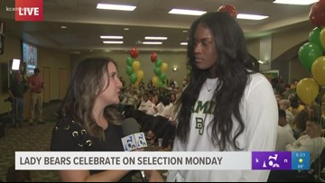 Kalani Brown reacts to Lady Bears' No. 1 seed