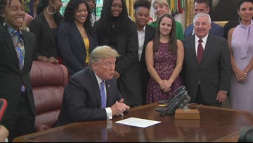 President Trump praises Lady Bears, Jackson in Oval Office