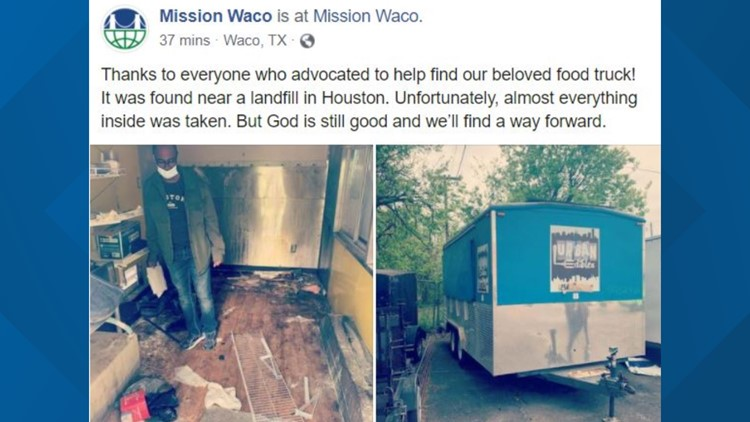 Stolen Mission Waco food truck found ransacked in Houston