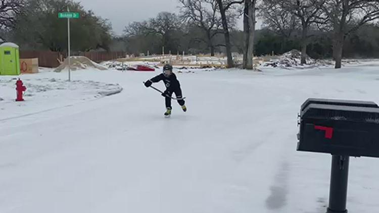 Ice skating on Belton, Texas streets