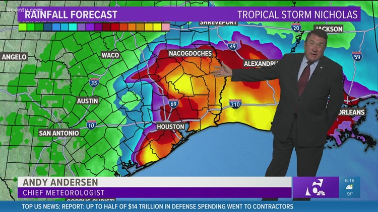 Central Texas Forecast: Little impact from Tropical Storm Nicholas