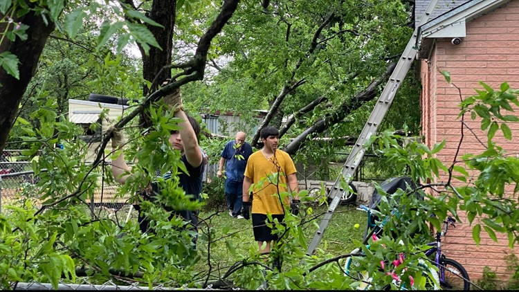 McGregor community comes together, helps woman remove downed trees from yard