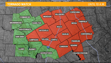 Tornado watch issued for several northern Central Texas counties