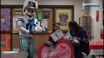 Cowboys mascot surprises Reeces Creek Elementary student with special needs