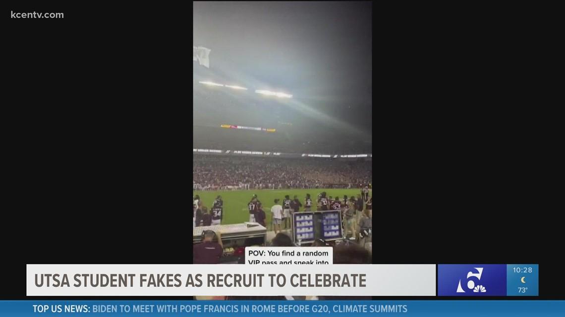 UTSA students fakes as recruit to celebrate A&M win