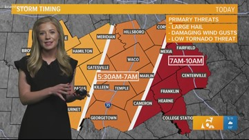 Severe thunderstorms march toward Central Texas