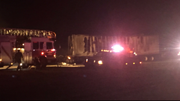 Semi-trailer crashes into grass truck parked in shoulder lane on Hwy. 6