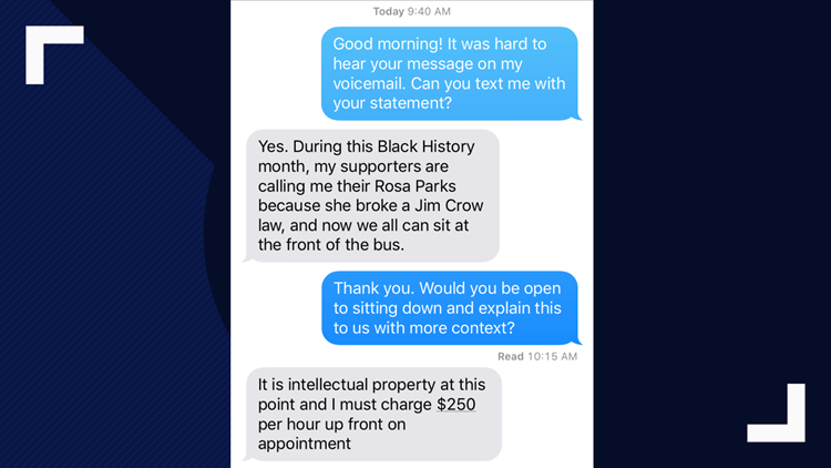 Text correspondence with ex-judge Claudia Brown