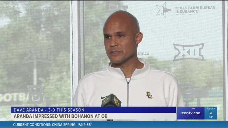 Baylor head football coach Dave Aranda impressed with Bohanon as quarterback