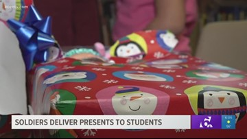 Fort Hood soldiers deliver toys to Skipcha Elementary students