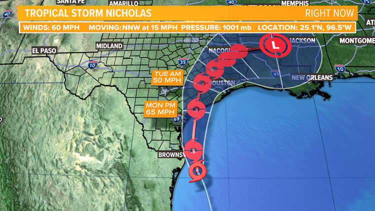 Tropical Storm Nicholas to cause issues for coastal and east Texas
