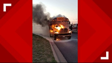 Killeen ISD school bus catches fire in HEB parking lot
