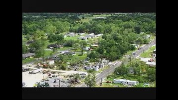 Aerial view of Franklin possible tornado damage