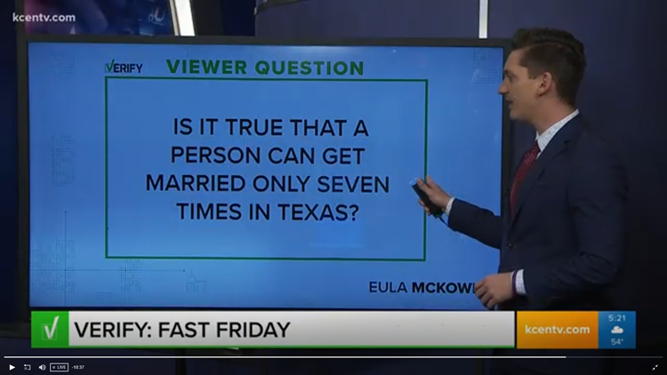 Can a person get married only seven times in Texas? | Verify