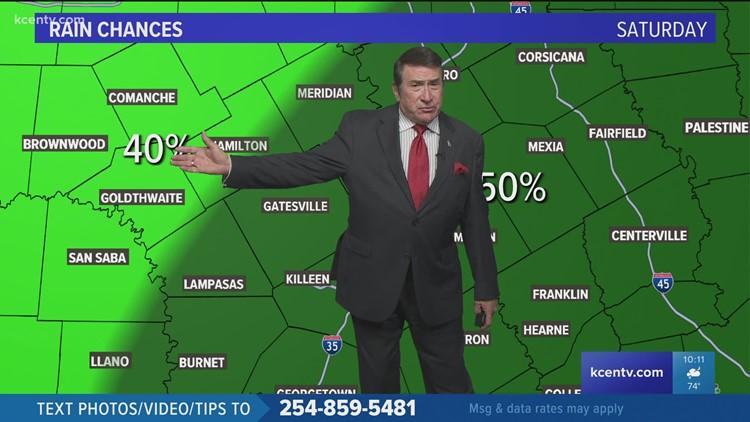 Central Texas forecast   Rain chances about 50% Saturday
