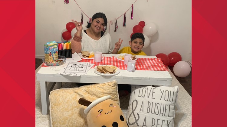 Waco mom makes snowy Valentine's Day fun for her son