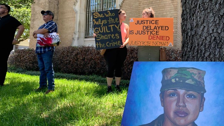 Happening Now   Protesters gather during hearing of woman accused of helping dispose of Vanessa Guillen's body