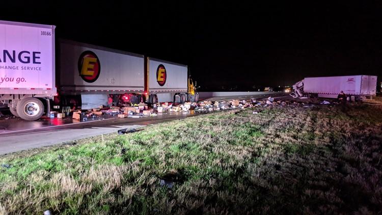 Three-way semi-trailer truck accident on I-35 on Feb. 14, 2019
