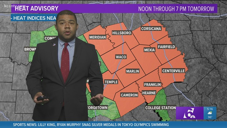 Central Texas Forecast: Heat advisory placed and triple digits are close