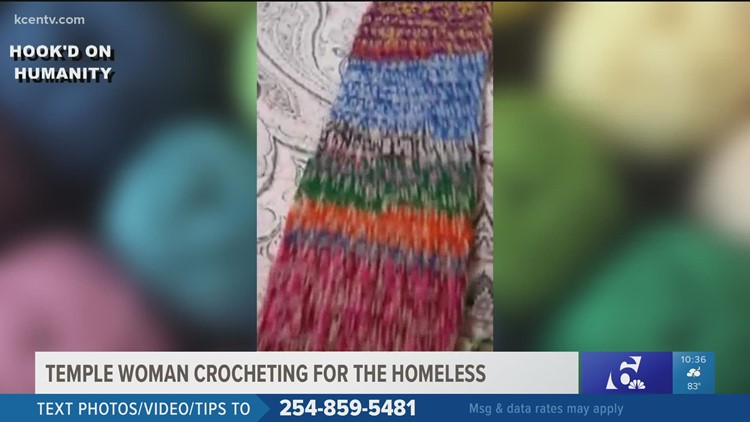Temple woman crocheting to help local homeless people during winter
