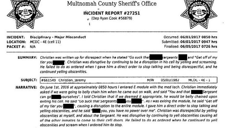 Incident report filed about Jeremy ChristianIncident Report Edited_1544057930575.jpg.jpg
