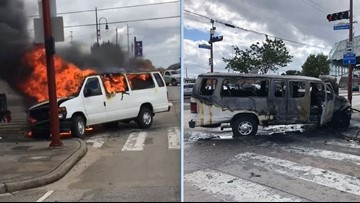 Two deputies, 6 inmates injured after prisoner van catches fire in crash