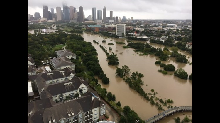 Buffalo Bayou overcame its banks and flooded Allen Parkway.