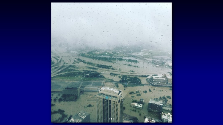 """Downtown Houston just flooded all around."" writes Christian Tycksen (@ctycksen) on Instagram."
