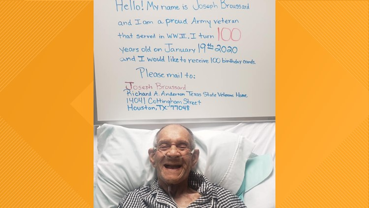 A Houston veteran turning 100 years old has only one thing on his wish list – birthday cards!