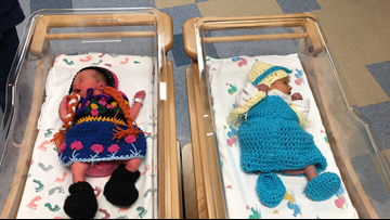 Newborns dressed in 'Frozen 2' outfits
